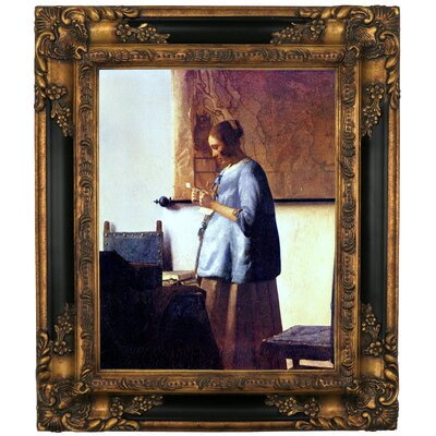 'Women in Blue Reading a Letter' by Johannes Vermeer Framed Graphic Art Print on Canvas Format: Gold/Black Frame, Size: 19.25
