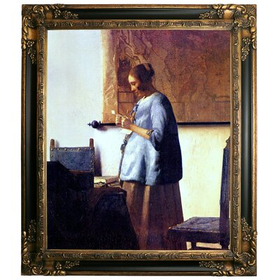 'Women in Blue Reading a Letter' by Johannes Vermeer Framed Graphic Art Print on Canvas Format: Dark Gold Frame, Size: 29.25