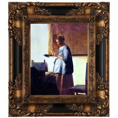 'Women in Blue Reading a Letter' by Johannes Vermeer Framed Graphic Art Print on Canvas Format: Gold/Black Frame, Size: 15.25