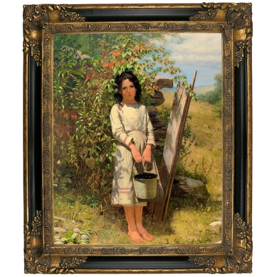 'Blackberry Picking 1875' Framed Graphic Art Print on Canvas Size: 25.25