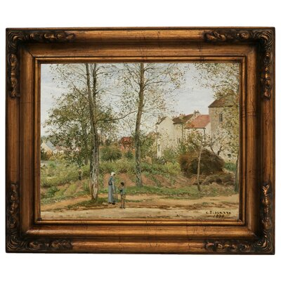 'Houses at Bougival Autumn 1870' by Camille Pissarro Framed Graphic Art Print on Canvas Size: 15.5