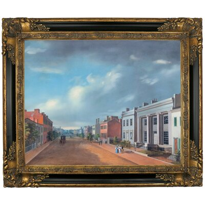 'Cincinnati Fourth Street East From Vine 1835' Framed Graphic Art Print on Canvas Size: 21.25