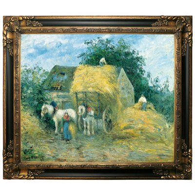 'The Hay Cart, Montfoucault 1879' by Camille Pissarro Framed Graphic Art Print on Canvas Size: 21.25