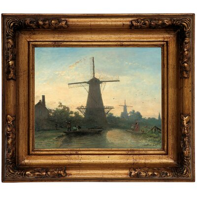 'Mills Near Rotterdam 1857' Graphic Art Print on Canvas Size: 12.5