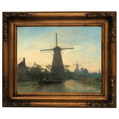 'Mills Near Rotterdam 1857' Graphic Art Print on Canvas Size: 15.5