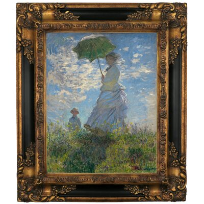 'On The Rock Cliff Madame Monet and Her Son Jean' by Claude Monet Framed Graphic Art Print on Canvas Size: 19.25