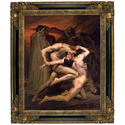 'Dante and Virgil in Hell' Graphic Art Print on Canvas Format: Gold/Black Frame, Size: 15.25