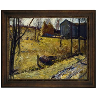 'Haystacks and Barn 1909' Framed Graphic Art Print on Canvas Size: 13.75