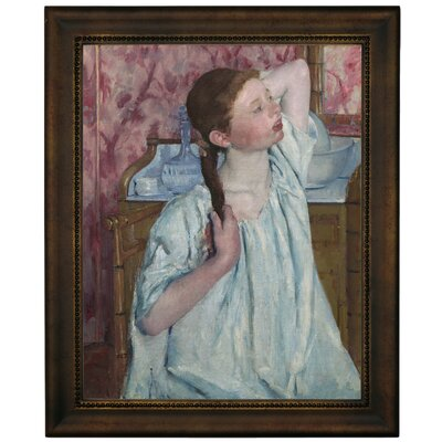 'Girl Arranging Her Hair 1886' by Mary Cassatt Framed Graphic Art Print on Canvas Size: 16.75