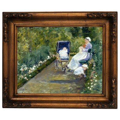 'Children in a Garden - The Nurse' by Mary Cassatt Framed Graphic Art Print on Canvas Size: 15.5