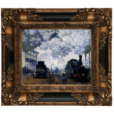 'Station Saint Lazare in Paris' by Claude Monet Framed Graphic Art Print on Canvas Size: 13.25