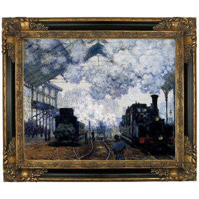 'Station Saint Lazare in Paris' by Claude Monet Framed Graphic Art Print on Canvas Size: 21.25