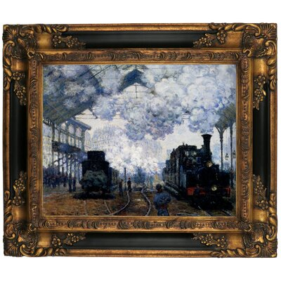 'Station Saint Lazare in Paris' by Claude Monet Framed Graphic Art Print on Canvas Size: 16.25