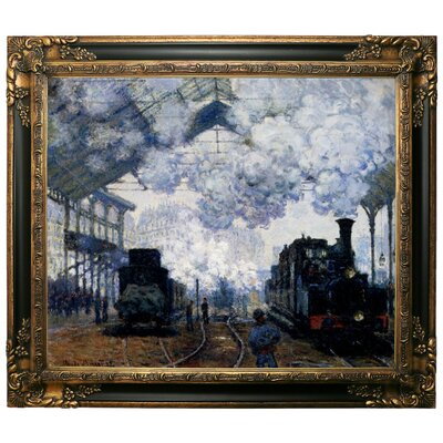 'Station Saint Lazare in Paris' by Claude Monet Framed Graphic Art Print on Canvas Size: 25.25