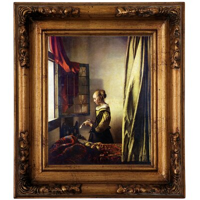 'Girl Reading a Letter at an Open Window' by Johannes Vermeer Framed Graphic Art Print on Canvas Size: 19.5