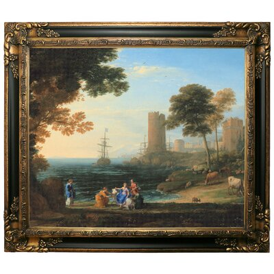 'Coast View with the Abduction of Europa 1645' Framed Graphic Art Print on Canvas Size: 13.25