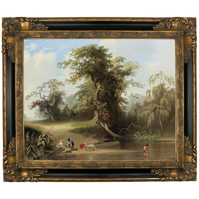 'Landscape - Rural Scene 1845' Framed Graphic Art Print on Canvas Format: Gold/Black Frame, Size: 13.25