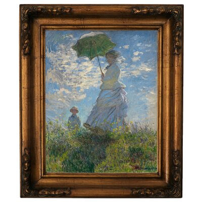'On The Rock Cliff Madame Monet and Her Son Jean' by Claude Monet Framed Graphic Art Print on Canvas Size: 19.5