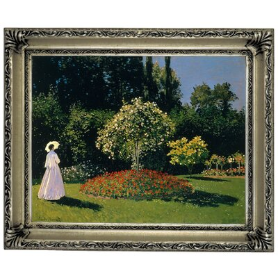 'Women in the Garden 2' by Claude Monet Framed Graphic Art Print on Canvas Format: Silver Frame, Size: 14
