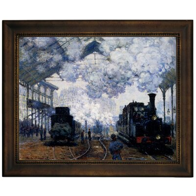 'Station Saint Lazare in Paris' by Claude Monet Framed Graphic Art Print on Canvas Size: 13.75