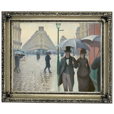 'Paris Street in Rainy Weather 1877' Framed Graphic Art Print on Canvas Size: 14