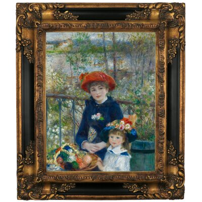 'Two Sisters on the Terrace 1881' by Pierre-Auguste Renoir Framed Graphic Art Print on Canvas Size: 16.75