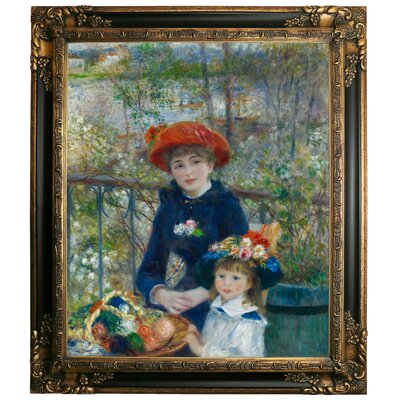 'Two Sisters on the Terrace 1881' by Pierre-Auguste Renoir Framed Graphic Art Print on Canvas Size: 31