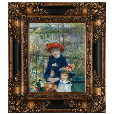'Two Sisters on the Terrace 1881' by Pierre-Auguste Renoir Framed Graphic Art Print on Canvas Size: 15.25