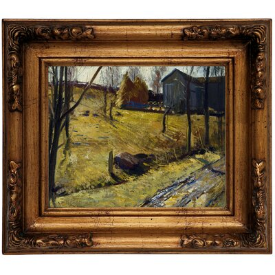 'Haystacks and Barn 1909' Framed Graphic Art Print on Canvas Size: 12.5