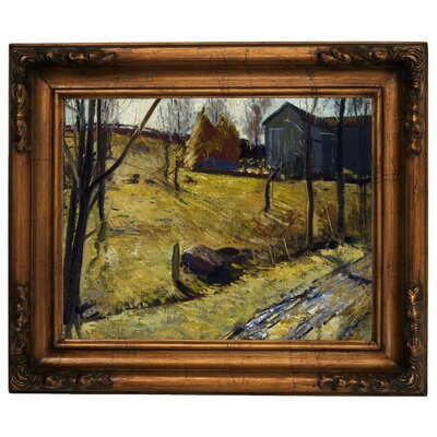 'Haystacks and Barn 1909' Framed Graphic Art Print on Canvas Size: 15.5
