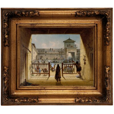 'Interior of Fort Laramie 1858' Framed Graphic Art Print on Canvas Format: Gold Frame, Size: 12.5