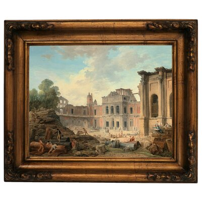 'Demolition of the Chateau of Meudon 1806' Framed Graphic Art Print on Canvas Size: 15.5