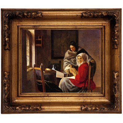 'Girl Interrupted in her Music' by Johannes Vermeer Framed Graphic Art Print on Canvas Size: 12.5