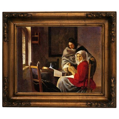 'Girl Interrupted in her Music' by Johannes Vermeer Framed Graphic Art Print on Canvas Size: 15.5
