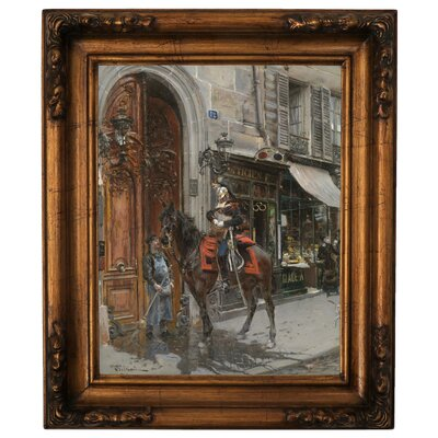'The Dispatch-Bearer 1879 a Horse in Paris' Framed Graphic Art Print on Canvas Size: 19.5