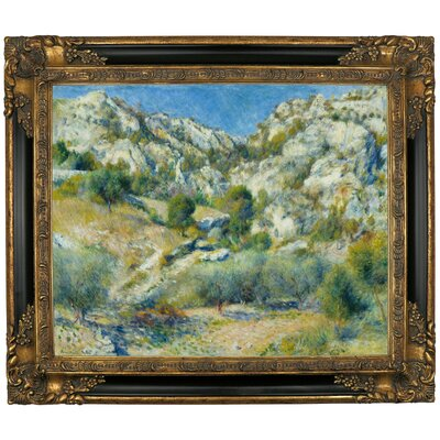 'Rocky Crags at Lestaque' by Pierre-Auguste Renoir Framed Graphic Art Print on Canvas Size: 21.25