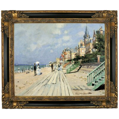 'Beach at Trouville' by Claude Monet Framed Graphic Art Print on Canvas Size: 21.25