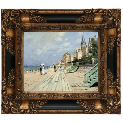'Beach at Trouville' by Claude Monet Framed Graphic Art Print on Canvas Size: 13.25