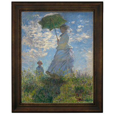 'On The Rock Cliff Madame Monet and Her Son Jean' by Claude Monet Framed Graphic Art Print on Canvas Size: 16.75