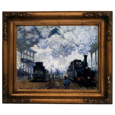 'Station Saint Lazare in Paris' by Claude Monet Framed Graphic Art Print on Canvas Size: 15.5