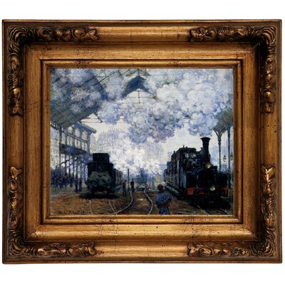 'Station Saint Lazare in Paris' by Claude Monet Framed Graphic Art Print on Canvas Size: 12.5