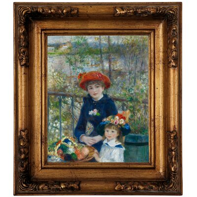 'Two Sisters on the Terrace 1881' by Pierre-Auguste Renoir Framed Graphic Art Print on Canvas Size: 14.5