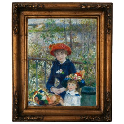 'Two Sisters on the Terrace 1881' by Pierre-Auguste Renoir Framed Graphic Art Print on Canvas Size: 26.25