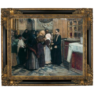 'Kissing the Relic 1893' Framed Oil Painting Print on Canvas Size: 13.25
