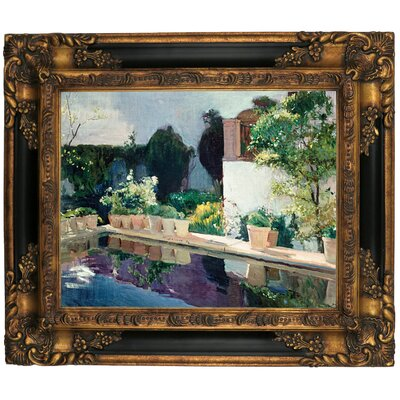 'Palace of Pond, Royal Gardens in Seville 1910' Framed Graphic Art Print on Canvas Size: 16.25