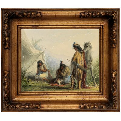 'Indian Courtship 1858' Framed Graphic Art Print on Canvas Size: 12.5