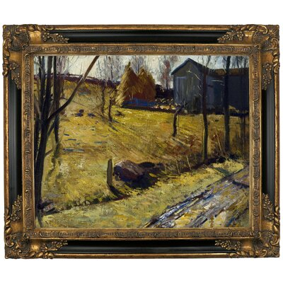 'Haystacks and Barn 1909' Framed Graphic Art Print on Canvas Size: 16.25