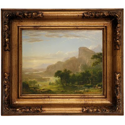 'Landscape Scene from Thanatopsis 1850' Framed Graphic Art Print on Canvas Format: Gold Frame, Size: 12.5