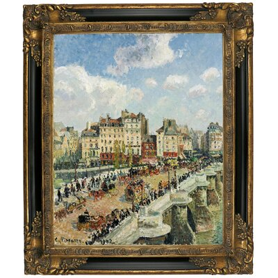 'The Pont-Neuf 1902' by Camille Pissarro Framed Graphic Art Print on Canvas Size: 19.25