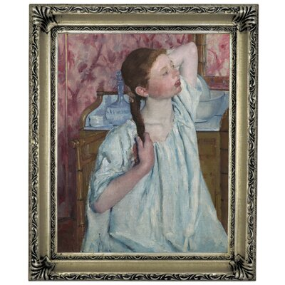 'Girl Arranging Her Hair 1886' by Mary Cassatt Framed Graphic Art Print on Canvas Size: 17